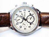 Relic Mahoney Men's Leather Strap Watch in Eggshell Dark Brown/Eggshell ZR15864