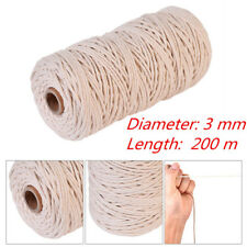 3mm 100%25 Natural Beige Cotton Twisted Cord Craft Macrame Artisan String 200M IW