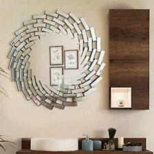 Large 80cm Luxury Aztec Hanging Wall Mirror Elegant Decor Round Silver Sunburst
