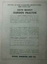 David Bradley Tractor, Plow & Speed/Reverse Owners, Parts, Sales Ad Manuals 50pg