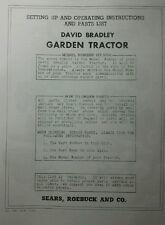 David Bradley Tractor Plow Amp Speedreverse Owners Parts Sales Ad Manuals 50pg