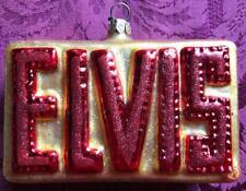 ELVIS Glass Xmas Tree Ornament~Red Name on Sparkly Gold~Adler/Polonaise Komuzja