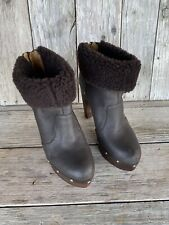 Elie Tahari Size 38.5/8.5 Brown Platform Wooden Heeled Ankle Booties EUC $495