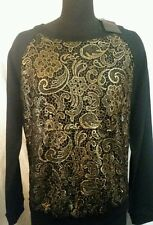 Black with Gold Embroidered Flowers Brocade Solid Sleeve Sweatshirt