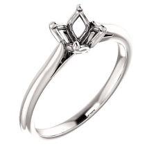 10k White Gold Setting Semi Mount Ring for Round Diamond 4 Four Prong Tulip Head
