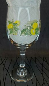 Lemon Wine Glass Spring Summer Table Yellow Green ONE GLASS goblet royal