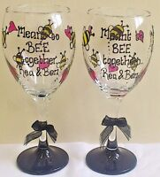 Bumble Bee wine glass hand painted PERSONALISED Teacher present Wedding gift