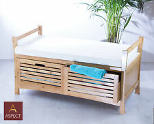 KENDAL-WOODEN STORAGE BENCH WITH SEAT CUSHION-Bamboo (2 SEATER)-OT36