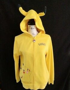 Pokémon Pikachu SM Yellow Full Zip Jacket Hood Ears Youth XL Fits adult S z19