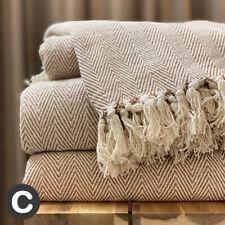 Luxury 100% Cotton Natural Beige Brown Herringbone Large Sofa Bed Throw Blanket