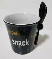 """World Market Coffee Cup Soup Bowl w/Spoon Says """"Snack"""" in Many Languages 12 oz"""