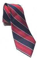 """Mens Express Neck Tie Slim Skinny 100% Silk Blue Navy Red Striped White 2.5"""""""