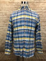 LACOSTE Classic Fit Multicolor Plaid Mens Button Down Long Sleeve Shirt Small