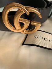 Original Gucci Gürtel GG Gold Leder Schwarz Größe 40 (100cm)