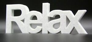 """""""Relax"""" Word Ornament in Arial Font 7x19.5x1.5cm - Various Colours"""