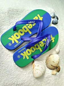 Face Book Men's Size 42-43 US 9 Large Blue and Green Flip Flop thong Sandals  *2