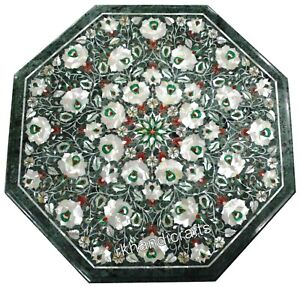 18 Inches Marble Corner Table Top MOP Inlay Art Coffee Table with Floral Work