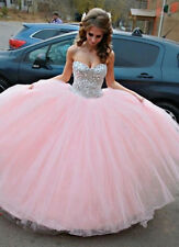 Pink Ball gown Prom dresses Tulle Quinceanera Dress Prom Formal Gowns Size 2-16