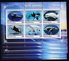 10pcs Marine Whales Dolphins Fish - perf Privat Local Issue [PL43] not MNH