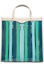 Anya Hindmarch Multi Striped Tote Bag In Blue / Green / Aqua - New