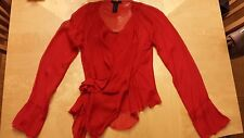DONNA KARAN COLLECTION RED SHEER BLOUSE $1280 Size US 6 IT 42