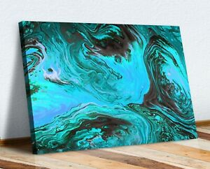 TURQUOISE TEAL BLUE  ABSTRACT CANVAS WALL ART 30MM DEEP FRAMED PRINT DESIGN