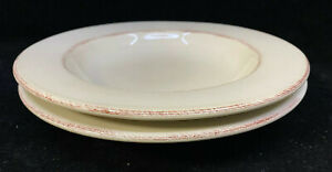 2 Rimmed Soup Pasta Bowls Pier 1 One Toscany Ivory Brown Edge Cream 243273