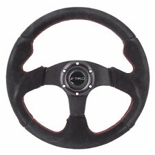 320mm JDM 6-Bolt Racing Steering Wheel Black Suede Red Stitching TRD
