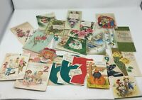 Lot of 25 Vintage 50s 60s Greeting Cards Birthday Christmas Die Cut and Others