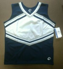 Real Chasse Cheer Adult Cheerleading Uniform Top Shell Navy Blue White Silver