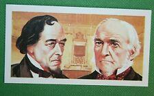 Gladstone and  Disraeli   Politicians    Illustrated Colour Card  VGC