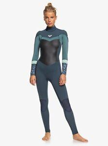 Roxy Syncro 3/2 GBS Back Zip Wetsuit - Women's - 6 / Deep Slate/Blue/Mint (XBBG)