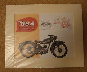 BSA BANTAM 125cc TWO STROKE MOTORCYCLE BIKE PICTURE MOUNTED ART PRINT