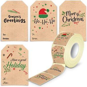 80Pcs Kraft Christmas Label Tags Self Adhesive Xmas Name Tags Stickers
