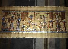"Huge Signed Handmade Papyrus Egyptian_KING RAMSES II_Painting. 59""x 24"""