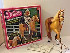 VTG 1980 MATTEL BARBIE DOLL GOLDEN PALOMINO HORSE DALLAS w/SADDLE & BRIDLE + BOX