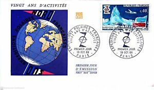 Envelope 1er Day France Expeditions Polar French 1968
