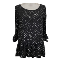 Ann Taylor Loft Womens Top Scoop Neck Roll Sleeves Dots Work Ladies Size Medium