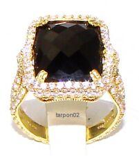 Judith Ripka 14k Gold Clad Black Onyx Diamonique Double Halo Ring J356686