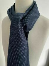 Brand New Mens Double Side Scarf Silk Wool Blend Navy with Small White Polka Dot