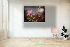 Orchidand Three Humming birds CANVAS PRINT, ROLLED,STRETCHED or FLOATING FRAME