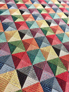 RHOMBUS SQUARES Triangles Gobelin Fabric Material Curtains Upholstery 140cm wide