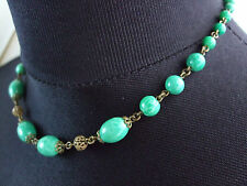 ~ BEAUTIFUL VINTAGE ANTIQUE CZECH PEKING GLASS BEAD NECKLACE with MAKER'S MARK