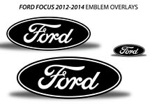Oval Badge Emblem Logo Overlay Sticker Decals For Ford Focus 2012-2014 WHITE BLK