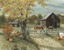 BARN YARD HORSES AUTUM PUMKINS   MOUSE PAD  IMAGE FABRIC TOP RUBBER BACKED