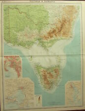 1922 LARGE ANTIQUE MAP ~ AUSTRALIA ~ VICTORIA & TASMANIA MELBOURNE