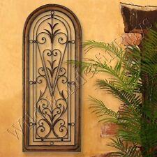 Mediterranean Wall Panel Grille Italian Tuscan Window Arch Garden Gate Iron New