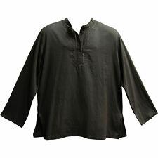 Men's Indian Yoga Mandarin Collar Gauze Cotton Embroidered Tunic Shirt Kurta