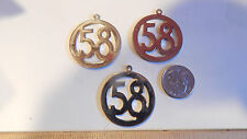 3 Vintage Large Number Year  58 Rhodium Over Brass Disc Solid Charms