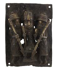 Plaque de palais Bini Edo Oba  -bronze africain Benin- Nigeria -39x29-1276